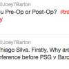 """Il solito Barton su Twitter: """"Thiago Silva transessuale"""""""