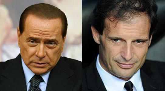 Berlusconi e Allegri, presidente e allenatore del Milan
