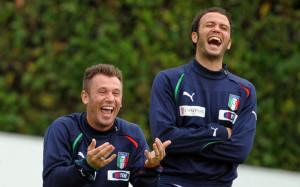 Cassano e Pazzini, entrambi ex Inter, con la maglia della Nazionale