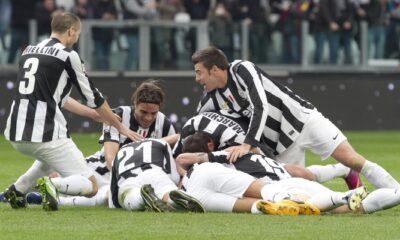 La festa della Juventus dopo il gol di Giaccherini