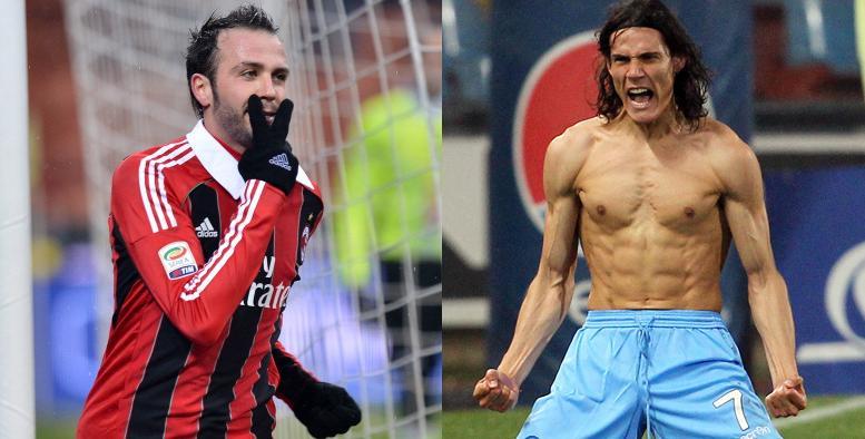 Pazzini e Cavani, i più attesi di Milan-Napoli