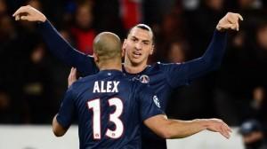 Alex e Ibrahimovic, due dei pochi giocatori del PSG capaci di meritarsi la sufficienza nel pareggio di Guingamp.