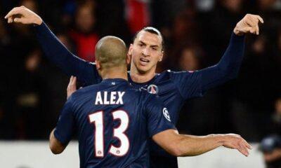 Alex e Ibrahimovic, due dei pochi giocatori del PSG capaci di meritarsi la sufficienza nel pareggio di Guingamp. Milan