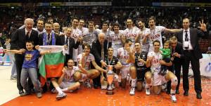 Trento: L'Itas Diatec Trentino festeggia la vittoria della terza Coppa Italia