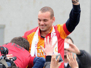 Wesley Sneijder, giocatore chiave del Galatasaray che ospita l'Arsenal