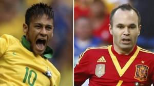 I due futuri compagni al Barcellona si sfidano questa sera: Neymar Dos Santos Jr vs Andres Iniesta