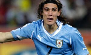 Edinson Cavani con la maglia dell'Uruguay