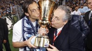 Mauri e Lotito festeggiano la vittoria della Coppa Italia 2013