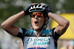Matteo Trentin all'arrivo del Tour de France