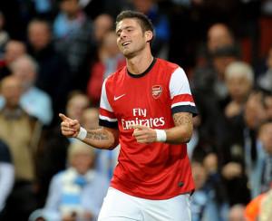 Olivier Giroud, con la maglia dell'Arsenal