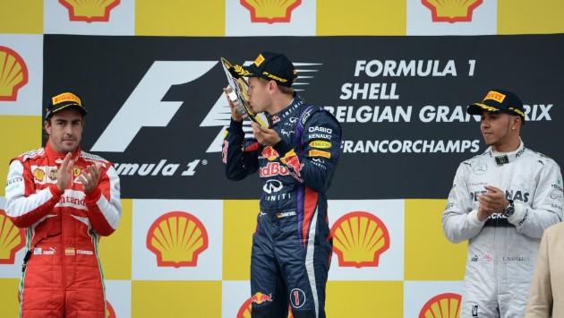 Podio GP Belgio 2013 F1: Vettel, Alonso, Hamilton