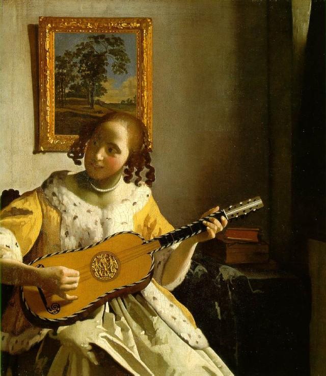 "Jan Vermeer, ""Suonatrice di chitarra"" (1672, ca.), Londra, Kenwood, Iveagh Bequest."