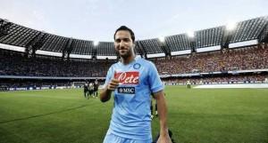 Gonzalo Higuain, al primo gol in Champions League con la maglia del Napoli
