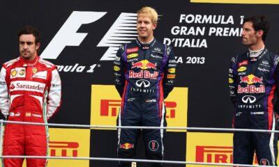 Podio GP Italia 2013 F1, Vettel, Alonso e Webber