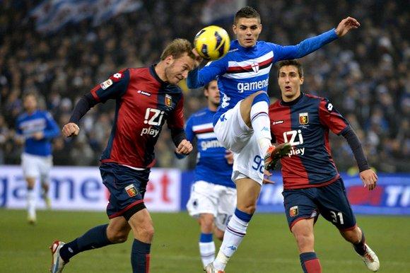 Un fotogramma del Derby di Genova della stagione 2012