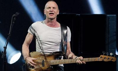 Sting che suona il basso al concerto di Copenhagen