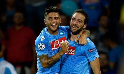 Gonzalo Higuain e Lorenzo Insigne con la maglia del Napoli