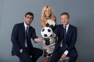 Il trio al comando di Sop&Gol su Cielo: Ciro Ferrara, Federica Fontana e Sandro Sabatini