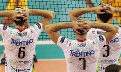 La prima linea dell'Itas Trento con Ferreira, Suxho e Birarelli