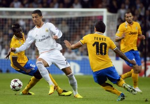 CR7 e Tevez in azione in Real Madrid-Juventus