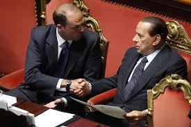 Alfano e Berlusconi in Parlamento