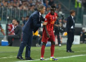 Portogallo: Bruma, centrocampista del Galatasaray, e il suo allenatore, Roberto Mancini