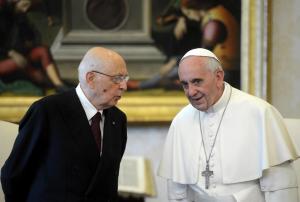 L'incontro tra Giorgio Napolitano e Papa Francesco