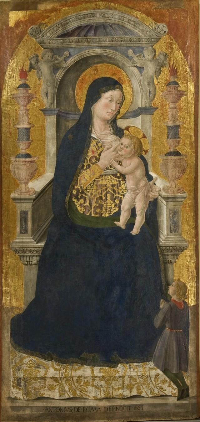 """Antoniazzo Romano, """"Madonna del latte"""" (1464), Rieti,  Museo Civico."""