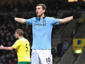 Edin Dzeko ha sbloccato la partita fra Manchester City e Norwich.