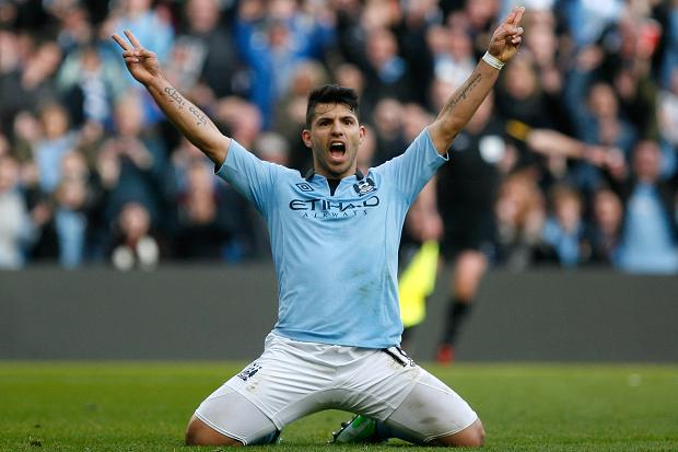 Sergio Aguero con la maglia del Manchester City