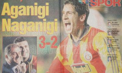 la clamorosa rimonta del Galatasaray che nel 1999, costò la qualificazione al Milan, ritratta in un giornale turco.