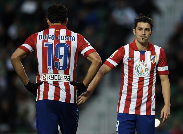 Diego Costa e David Villa guideranno l'attacco dell'Atletico Madrid
