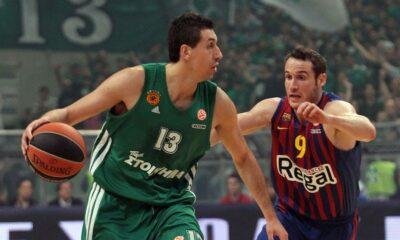 Dimitris Diamantidis e Marcelinho Huertas in un duello d'annata. Nella serata di venerdì, il brasiliano ha avuto la meglio sulla leggenda greca.