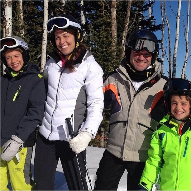 Rubens Barrichello e famiglia sulle nevi di Park City (Utah)