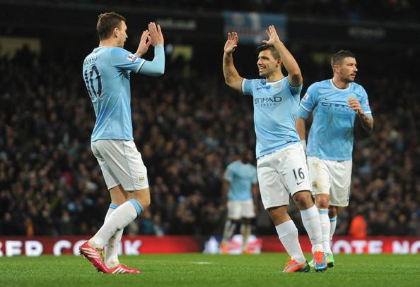 Edin Dzeko e Sergio Aguero, attaccanti del Manchester City