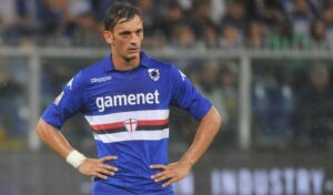 Gabbiadini, attaccante della Sampdoria, oggi spento contro la Lazio