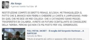 Il post incriminato.