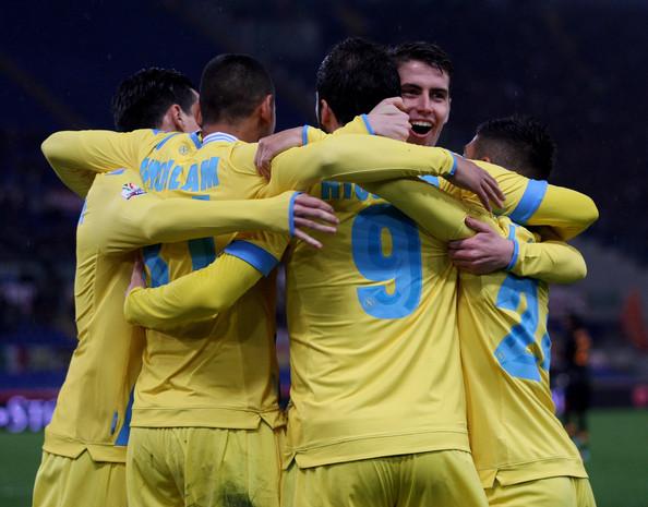 Un'esultanza dei giocatori del Napoli dopo un gol