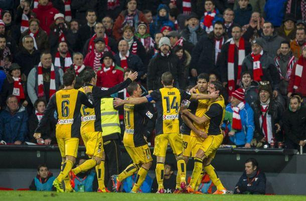 Atletico Madrid in festa dopo il gol