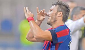 Federico Piovaccari esulta dopo il gol segnato al Concordia