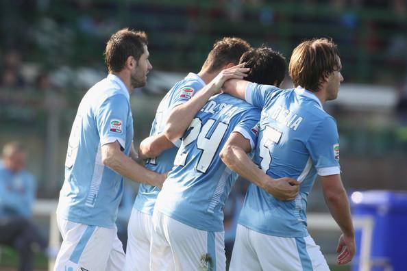 L'esultanza dei giocatori della Lazio