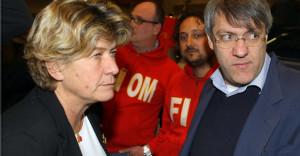 Susanna Camusso e Maurizio Landini alla manifestazione CGIL