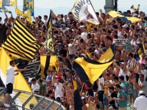 Juve Stabia-Palermo, tifo gialloblù straordinario