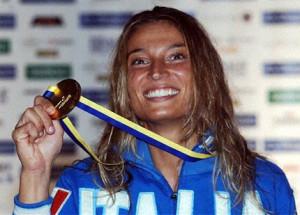 Margherita Granbassi dopo una vittoria