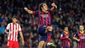 Liga spagnola: Puyol festeggia dopo il goal all'Almeria