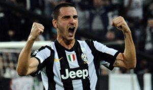 Leonardo Bonucci autore dell'1 a 0 della Juventus a Lione