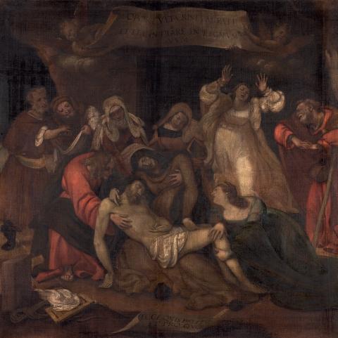 """Lorenzo Lotto, """"Compianto su Cristo morto"""" (1521-1523), Sant'Alessandro di Colonna, Bergamo."""