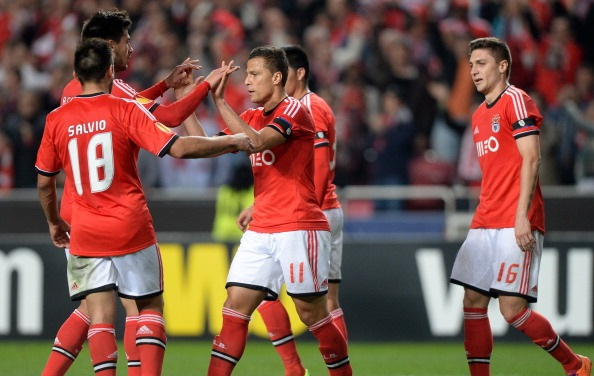 L'esultanaza dei giocatori del Benfica dopo la qualificazioni contro la Juve