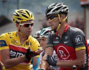 Cadel Evans e Lance Armstrong