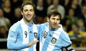 Higuain e Messi con la Nazionale argentina